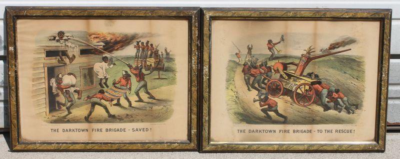 """pr of Currier & Ives ca 1880 """"Dark Town Fire Brigade"""" p"""