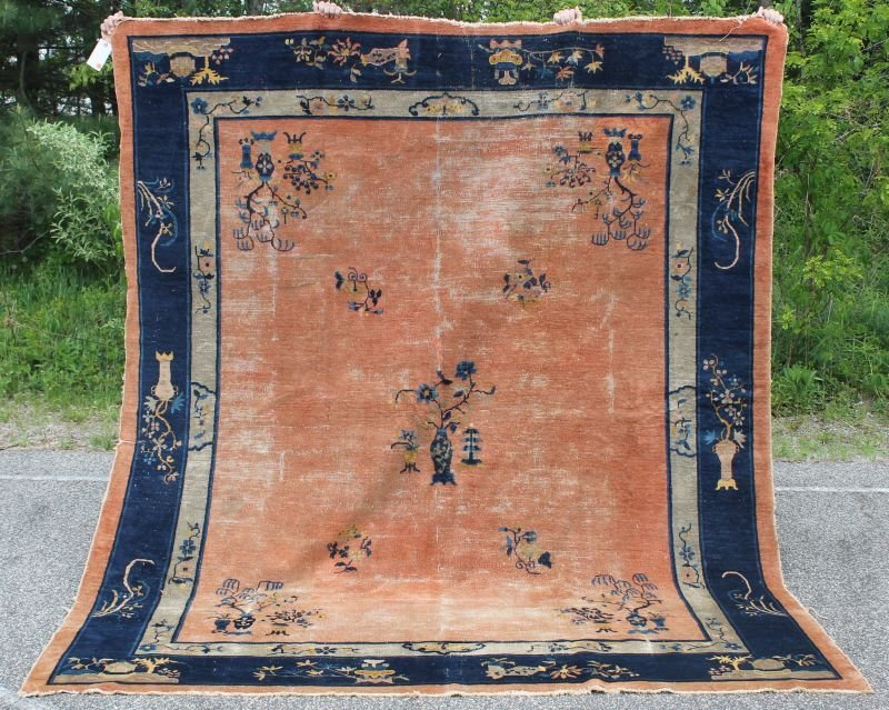 "7'11""x9'3"" antique Chinese rm size Oriental rug -"