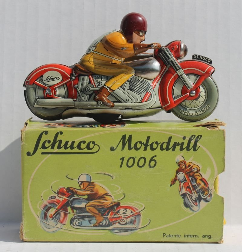 "Schuco ""Moto- Drill"" #1006 key wind tin motorcycle w"