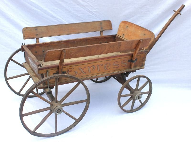 "wonderful antique wooden ""Express"" wagon w orig metal"