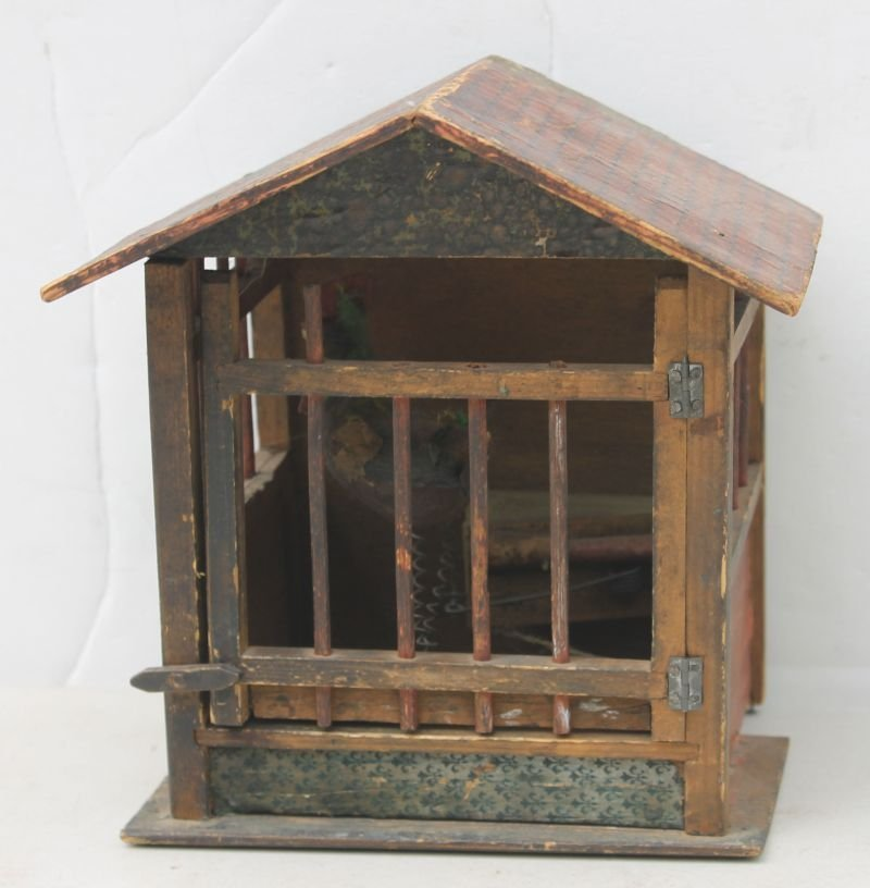 antique toy wooden pip-squeak  barn w composition