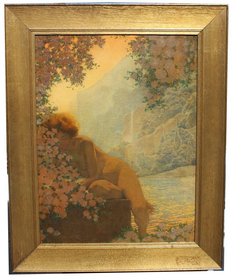 "Important signed Maxfield Parrish 21""x16"" o/c with an"