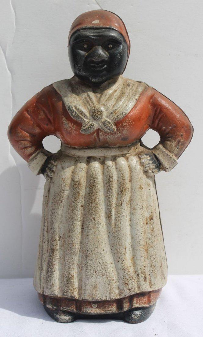 ca 1920 fine cast iron Aunt Jemima doorstop/bank by