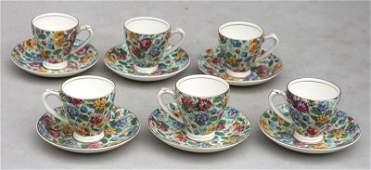 set of 6 English Chintz porcelain demi tasse cups