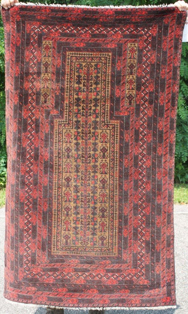 """3'2""""x5'2"""" semi-antique Belouch Prayer rug"""