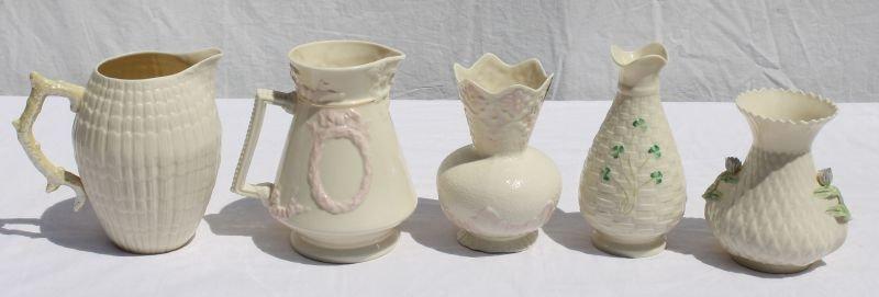 6 pc brown mark Irish Belleek pitchers & vases -