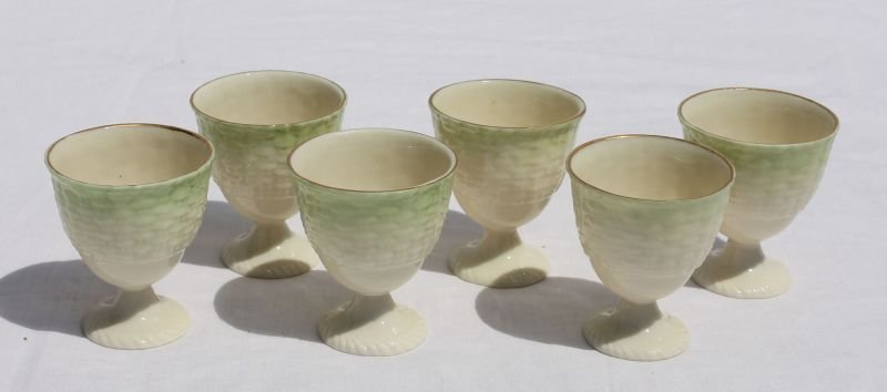 "set of six 2 1/4"" green mark Irish Belleek basket weave"