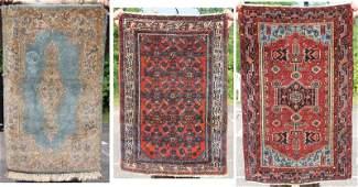 3 small semiantique Oriental area rugs 2x33 Kirman