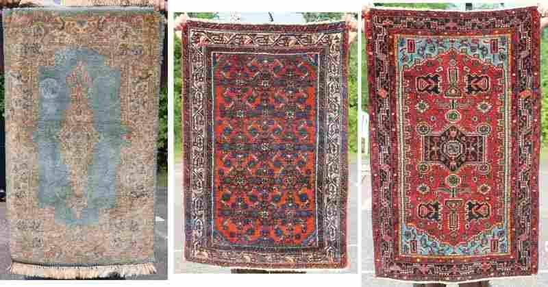 "3 small semi-antique Oriental area rugs 2'x3'3"" Kirman;"