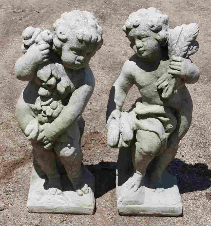 """Pr of 24"""" cement garden figural Putti (representing 2"""