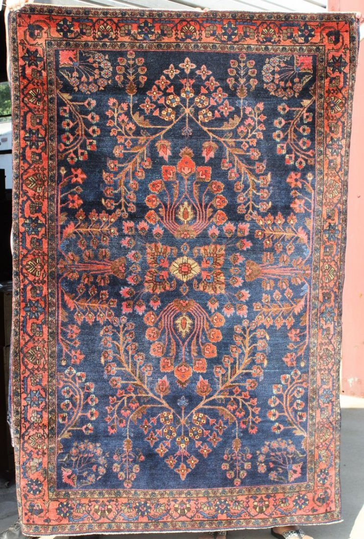 "4'2""x6'4"" antique blue Sarouk Oriental area rug"