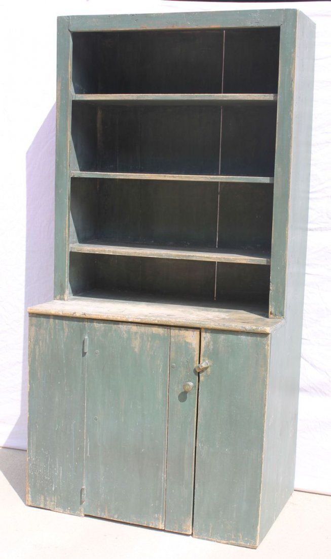 Wonderful ca 1780 New England pine step back cupboard