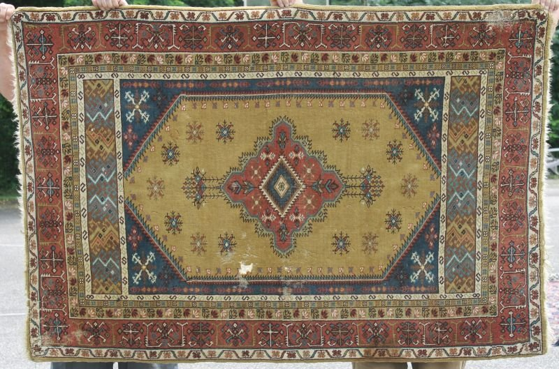 "4'x5'10"" semi-antique Turkish area rug"