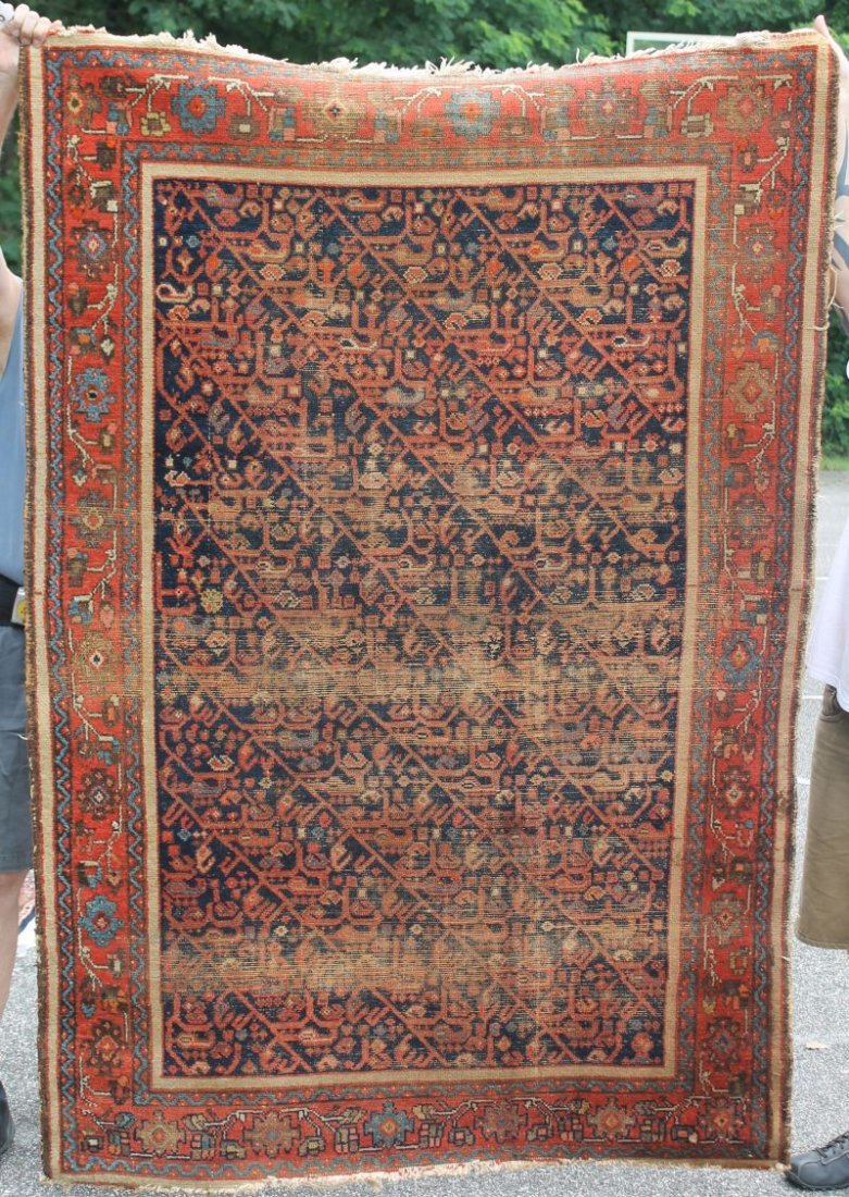 "4'3""x6'4"" antique Persian Malayer Oriental area rug"