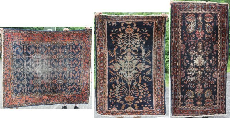 lot of 3 antique Persian Lilihan Oriental area rugs