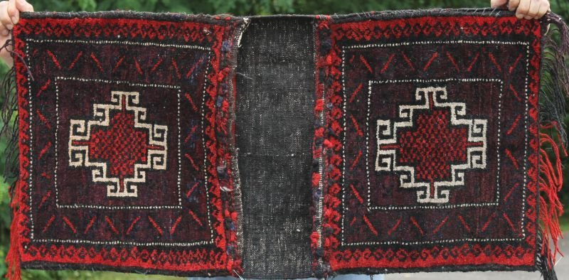 "1'8""x3'4"" semi-antique Oriental saddle bag"