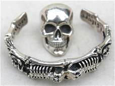 sterling silver jewelry lot incl skull form bikers