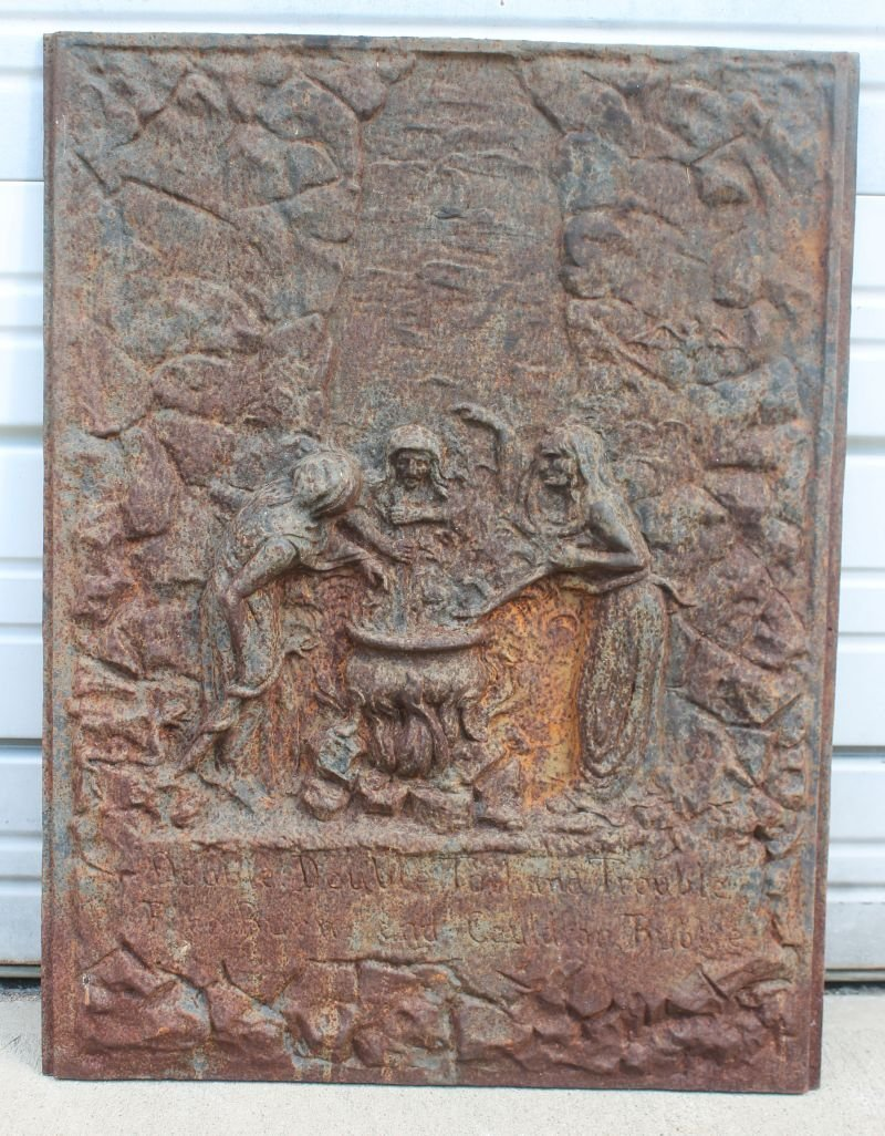 great ca 19thC cast iron fireback depicting witches &