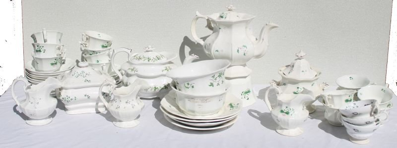 large lot of ca 1830's china Sprigware - approx 47pcs