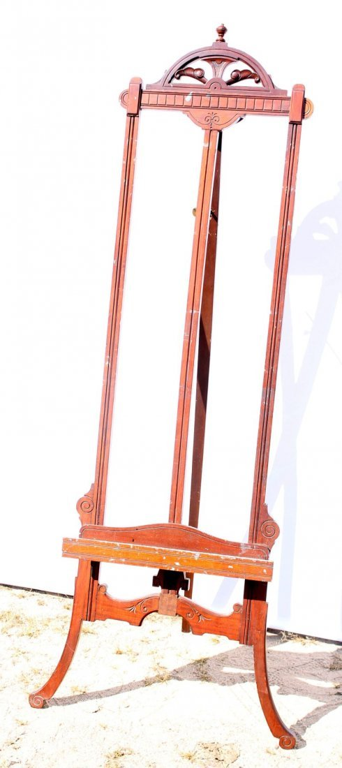 """19thC Victorian carved walnut Eastlake easel - 67"""" tall"""