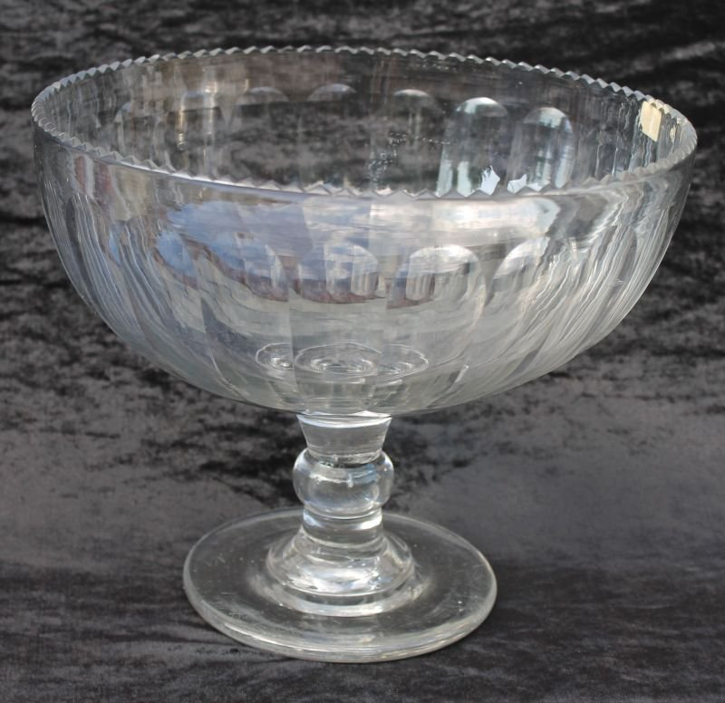 early 19thC free blown Pittsburgh glass compote - 10 1/