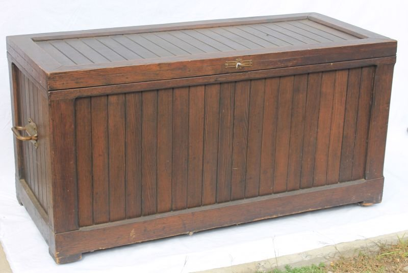 19thC oak paneled blanket chest w pine secondary and ti