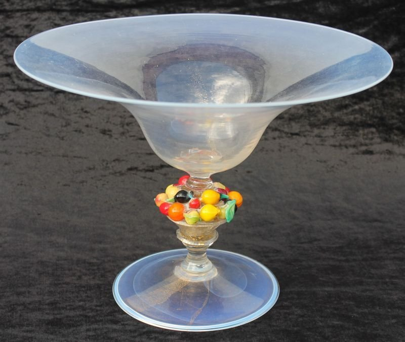 fine Murano glass opalescent compote w gold threading &