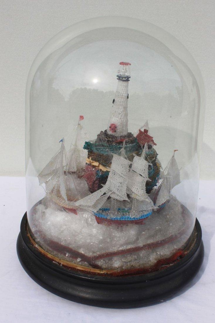 Victorian era intricate spun glass Nautical motif displ
