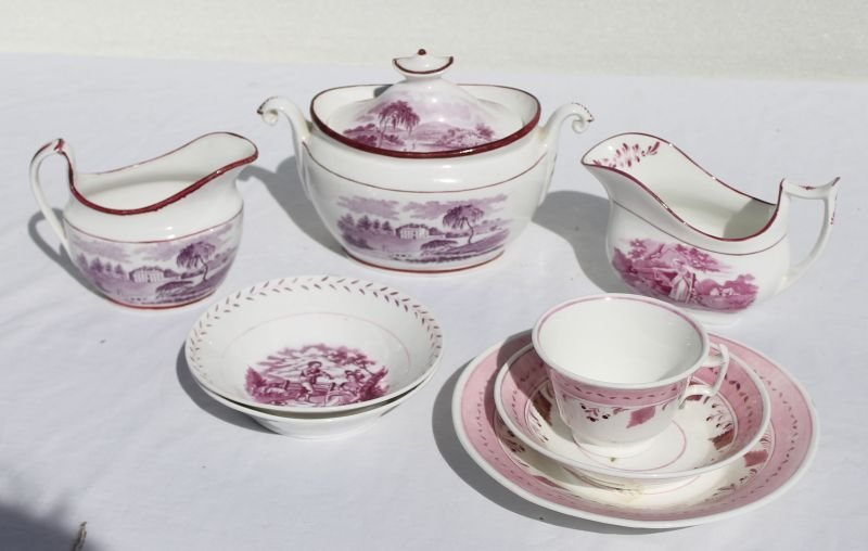 lot of ca 1820's/30's pink &/or lavender lustre china -