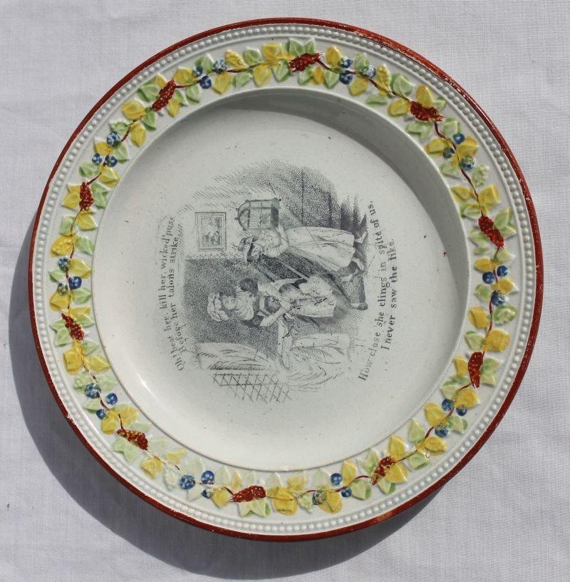ca 1820's soft paste plate w interior transfer scene fe