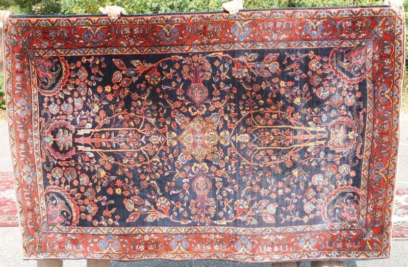 "Great 4'4""x6'9"" antique blue Sarouk Oriental area rug"