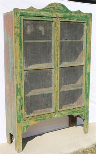 antique pine pie safe/jelly cupboard w crest in old gre