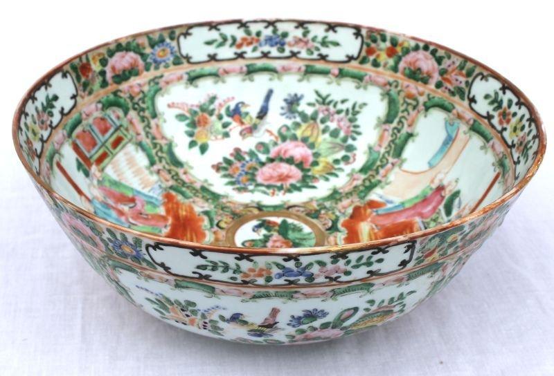 """19thC Rose Medallion bowl - 9 1/4"""" diam"""