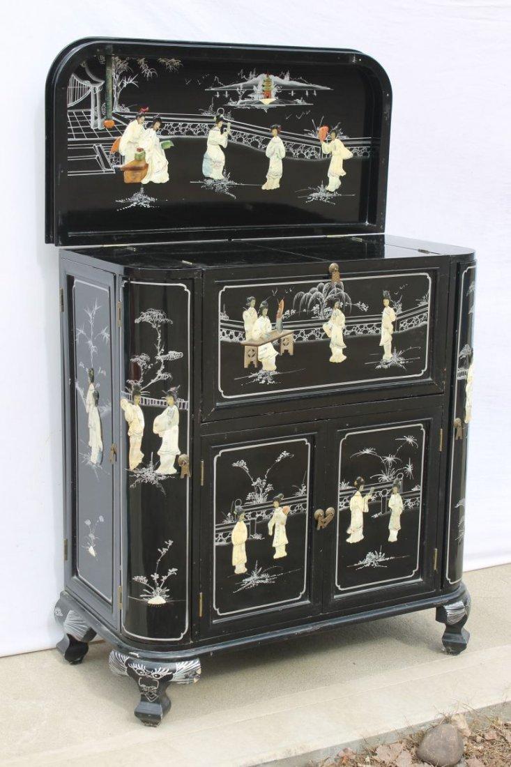 20thC Chinese laquer multi door, multi drawer bar w
