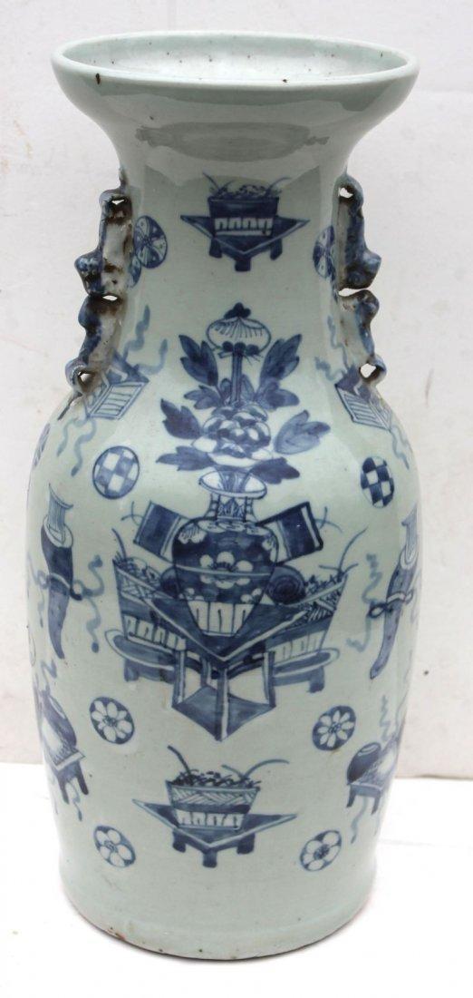 late 18thC Chinese celadon 2 handled baluster form vase