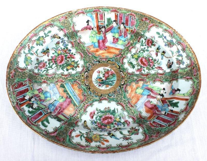 """19thC Rose Mandarin platter - 14 1/2"""" x 11 1/2"""""""