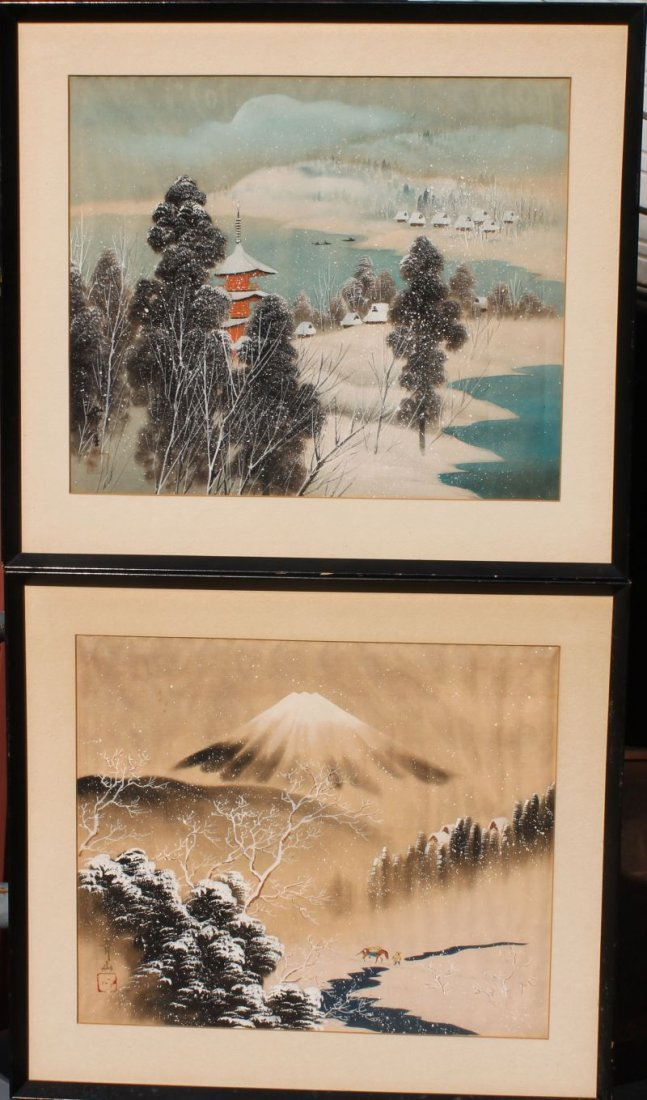 pr of antique Japanese w/c's on silk in matching frames