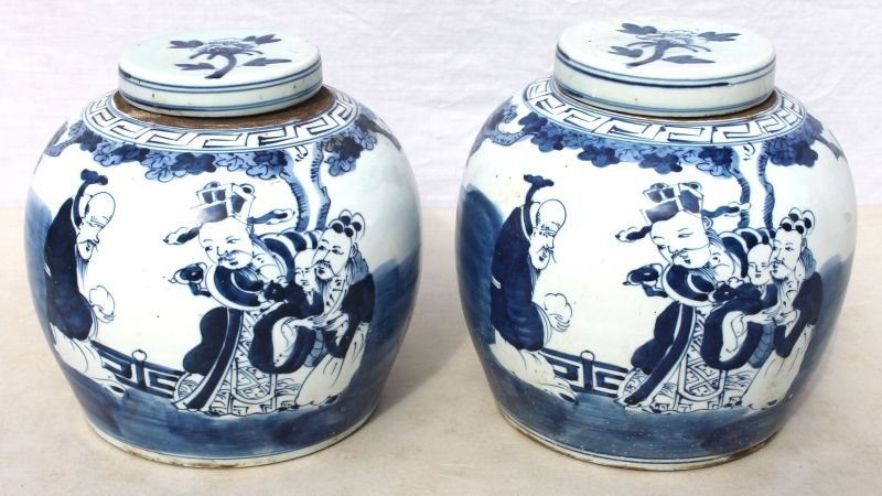 pr of antique Chinese blue & white covered ginger jars
