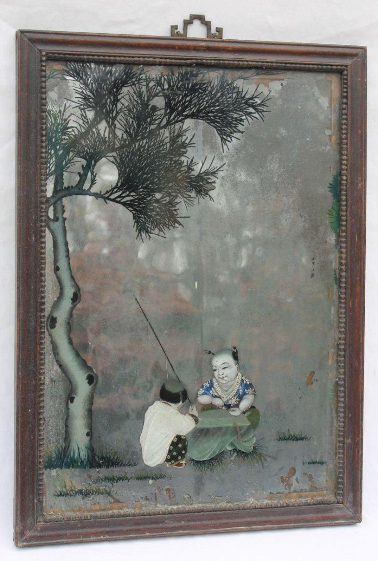 """wonderful ca 1820 Chinese hand painted mirror - 22"""" x"""