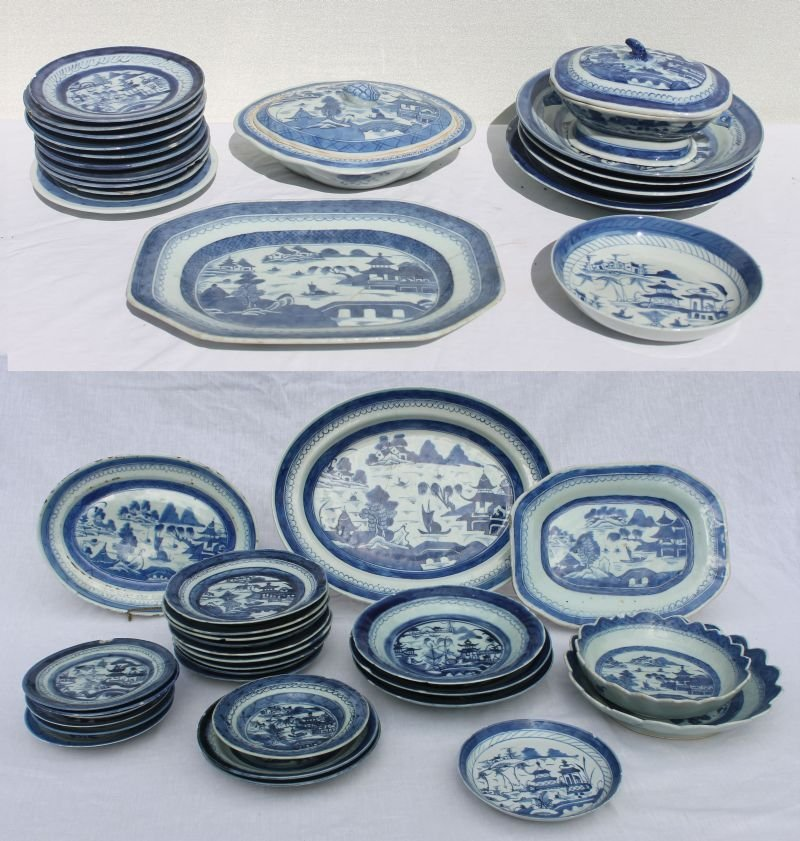 Huge lot of approx 60 pcs of antique blue & white