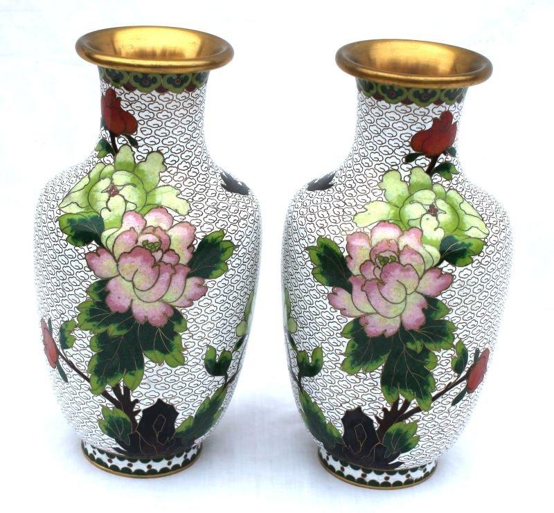 "nice pr of 9"" tall Cloissone vases w bird & floral dec"