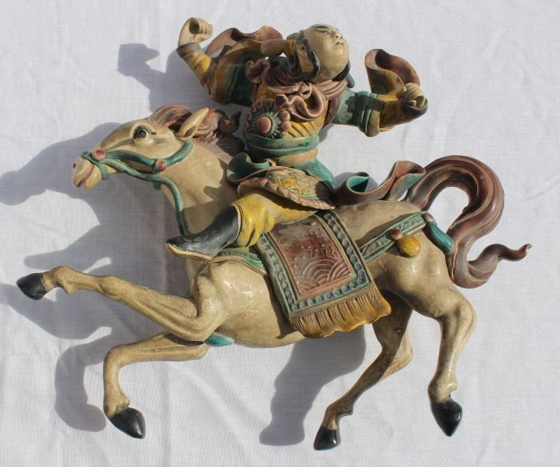 """19thC Chinese roof tile of a horse & rider - 13"""" wide x"""