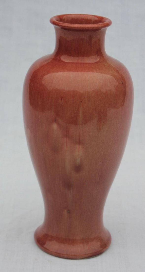 """10 1/2"""" tall rose colored glaze pottery vase  - Chinese"""