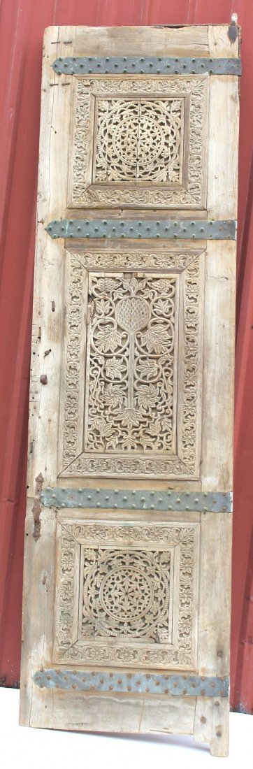 8' tall highly carved possibly 17thC Spanish door w