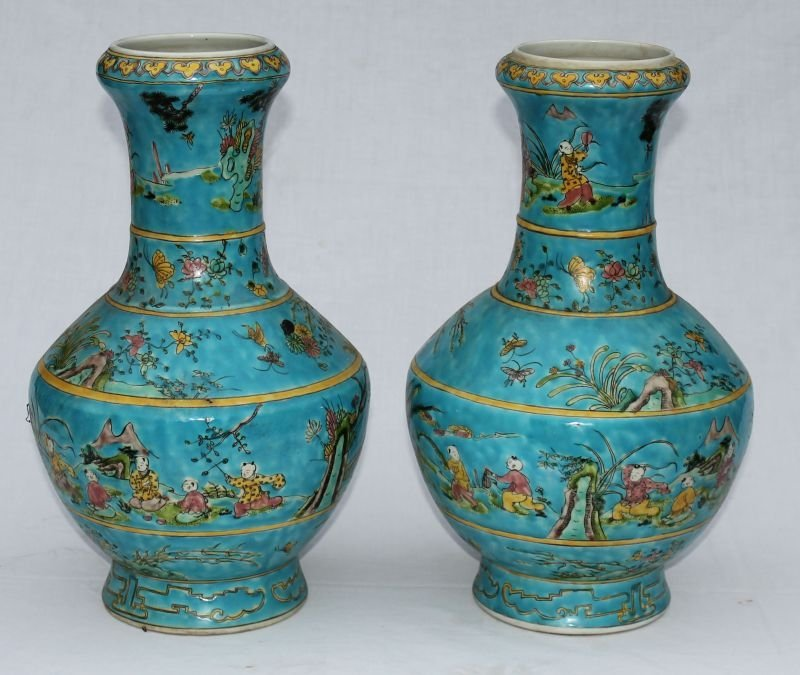 pr of late 19th/early 20thC Chinese Famille vases in