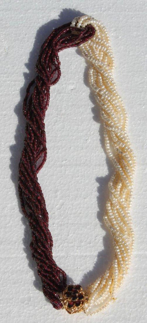 beautiful multi strand Chinese seed pearl & garnet