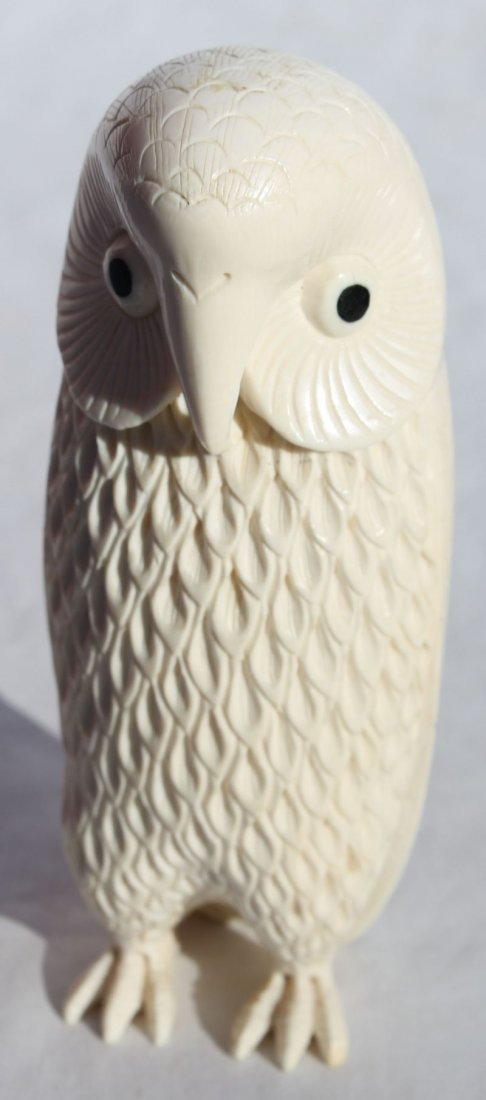 """fine carved ivory owl w balleen eyes - 5 3/4"""" tall"""