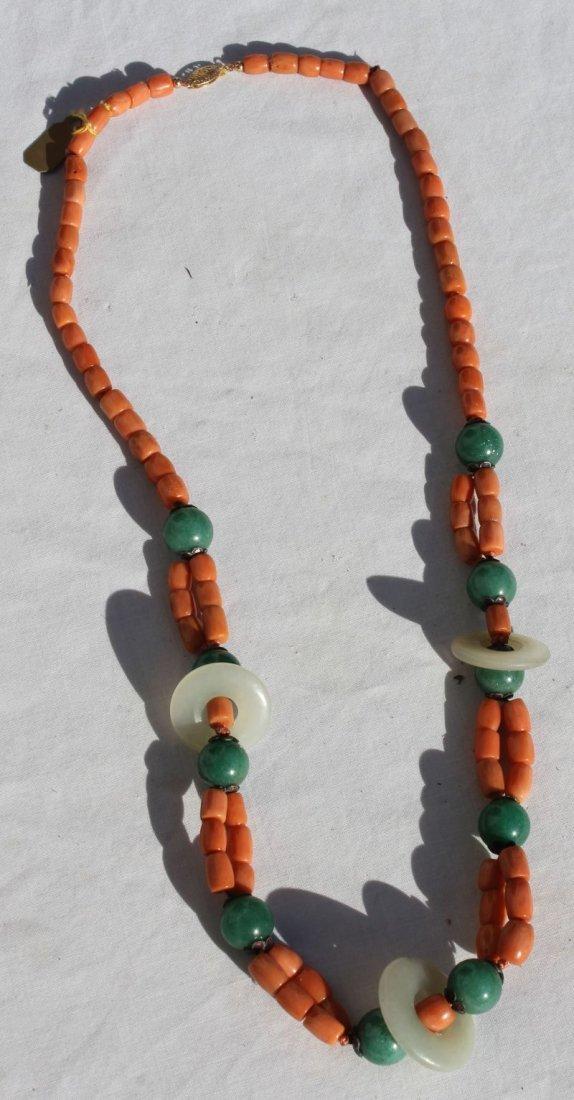 Hawaiian angel skin coral & jade necklace together w a