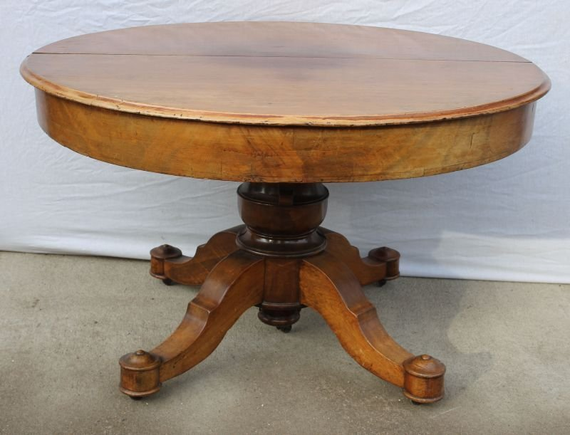"""Victorian cherry carved 48"""" round table w 3 different"""