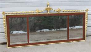 Beautiful large 19thC 3 section overmantle mirror w